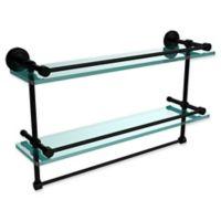 Allied Brass Dottingham 2-Tier 22-Inch Gallery Glass Shelf with Towel Bar in Matte Black