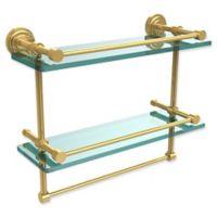 Allied Brass Dottingham 2-Tier 16-Inch Gallery Glass Shelf with Towel Bar in Polished Brass