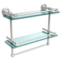 Allied Brass Dottingham 2-Tier 16-Inch Gallery Glass Shelf with Towel Bar in Polished Chrome