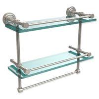 Allied Brass Dottingham 2-Tier 16-Inch Gallery Glass Shelf with Towel Bar in Satin Nickel