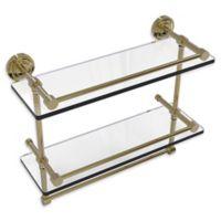 Allied Brass Dottingham 2-Tier 16-Inch Gallery Glass Shelf with Towel Bar in Unlacquered Brass