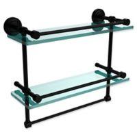 Allied Brass Dottingham 2-Tier 16-Inch Gallery Glass Shelf with Towel Bar in Matte Black