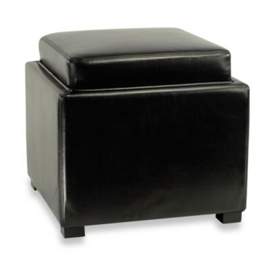 Safavieh Hudson Bobbi Leather Storage Ottoman In Black