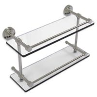 Allied Brass Dottingham 16-Inch Double Glass Shelf with Gallery Rail in Satin Nickel