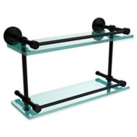Allied Brass Dottingham 16-Inch Double Glass Shelf with Gallery Rail in Matte Black