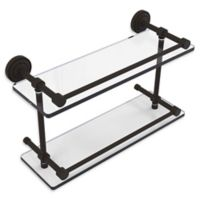 Allied Brass Dottingham 16-Inch Double Glass Shelf with Gallery Rail in Oil Rubbed Bronze