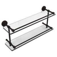 Allied Brass Dottingham 22-Inch Double Glass Shelf with Gallery Rail in Oil Rubbed Bronze