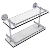 Allied Brass Dottingham 16-Inch Double Glass Shelf with Gallery Rail in Polished Chrome