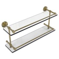 Allied Brass Dottingham 22-Inch Double Glass Shelf with Gallery Rail in Unlacquered Brass