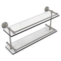Allied Brass Dottingham 22-Inch Double Glass Shelf with Gallery Rail in Satin Nickel