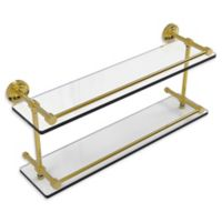 Allied Brass Dottingham 22-Inch Double Glass Shelf with Gallery Rail in Polished Brass