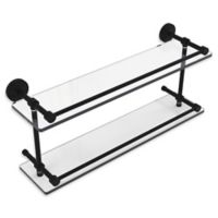 Allied Brass Dottingham 22-Inch Double Glass Shelf with Gallery Rail in Matte Black