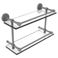 Allied Brass Dottingham 16-Inch Double Glass Shelf with Gallery Rail in Matte Grey