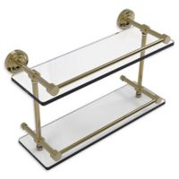 Allied Brass Dottingham 16-Inch Double Glass Shelf with Gallery Rail in Unlacquered Brass
