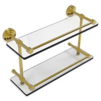 Allied Brass Dottingham 16-Inch Double Glass Shelf with Gallery Rail in Polished Brass
