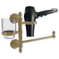 Allied Brass Dottingham Collection Hair Dryer Holder and Organizer in Unlacquered Brass
