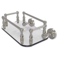 Allied Brass Dottingham Collection Wall Mounted Glass Guest Towel Tray in Satin Nickel