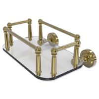 Allied Brass Dottingham Collection Wall Mounted Glass Guest Towel Tray in Unlacquered Brass