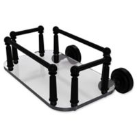 Allied Brass Dottingham Collection Wall Mounted Glass Guest Towel Tray in Matte Black