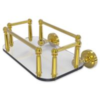 Allied Brass Dottingham Collection Wall Mounted Glass Guest Towel Tray in Polished Brass