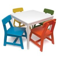 Lipper 5-Piece Children's Table & Chairs Set in White/Multi
