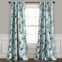 Tania Floral 84-Inch Back Tab Room Darkening Window Curtain Panels in Blue