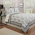 Bagru Damask Reversible Full/Queen Quilt in White/Grey