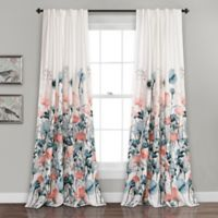 Lush Décor Zuri Flora 84-Inch Room Darkening Window Curtain Panel Pair in Blue
