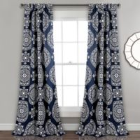 Lush Décor Karmen Medallion 84-Inch Room Darkening Window Curtain Panel Pair in Navy