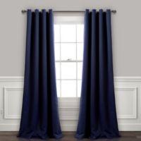 Lush Décor Insulated 84-Inch Grommet Room Darkening Window Curtain Panel Pair in Navy