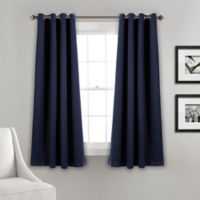 Lush Décor Insulated 63-Inch Grommet Room Darkening Window Curtain Panel Pair in Navy