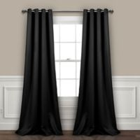 Lush Décor Insulated 95-Inch Grommet Room Darkening Window Curtain Panel Pair in Black
