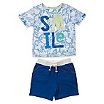ED Ellen DeGeneres Size 0-3M 2-Piece Smile Short Set in Blue
