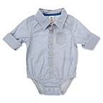 OshKosh B'gosh® Size 3-6M Long Sleeve Pinstripe Bodysuit in Ivory/Grey