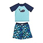 Floatimini Size 3M 2-Piece Whale Rashguard Set in Blue
