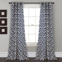 Lush Decor Giovana 84-Inch Grommet Room Darkening Window Curtain Panel Pair in Navy