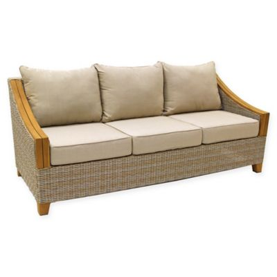 Outdoor Interiors® Teak U0026 Wicker Outdoor Sofa With Sunbrella Fabric Cushions  In Brown/Grey