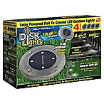 Bell + Howell Disk Light Solar Powered Lights in Stainless Steel (Set of 4)