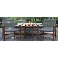 Outdoor Interiors® Teak & Wicker Outdoor Loungers in Brown/Grey (Set of 2)