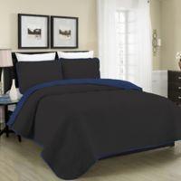 Blissful Living Austin Pinsonic Reversible King Quilt Set in Black/Navy