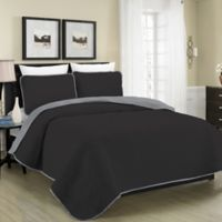 Blissful Living Austin Pinsonic Reversible King Quilt Set in Black/Grey