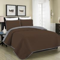 Blissful Living Austin Pinsonic Reversible Twin Quilt Set in Brown/Grey