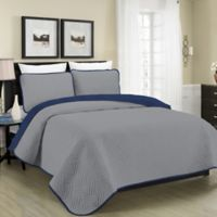 MHF Home Austin Pinsonic Reversible Twin Quilt Set in Grey/Navy