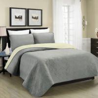 Blissful Living Austin Pinsonic Reversible King Quilt Set in Grey/Cream