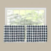 Heritage Lace® Buffalo Check 30-Inch Kitchen Window Curtain Tier Pair in Navy