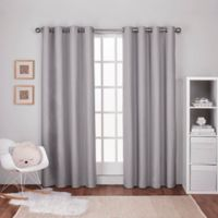 Textured 108-Inch Grommet Top Window Curtain Panel Pair in Light Grey