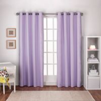 Textured 108-Inch Grommet Top Window Curtain Panel Pair in Lilac