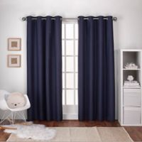 Textured 108-Inch Grommet Top Window Curtain Panel Pair in Navy