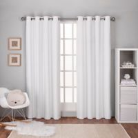 Textured 108-Inch Grommet Top Window Curtain Panel Pair in White