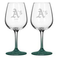 Satin Etched MLB Oakland Athletics Wine Glasses (Set of 2)